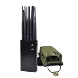 Plus 10-antenna Portable LoJack GPS Jammer Wi-Fi Mobile Phone Blocker 7W Jamming Up to 20m